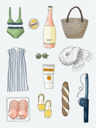 summer essentials - swimsuit, rosé, sunscreen, fishing rod, sandwich ingredients, sunglasses
